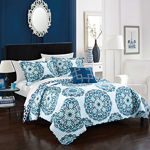 Chic Home Madrid 3 Piece Quilt Set, Twin, Blue, 3
