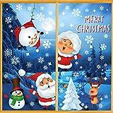 Wishstar Pegatinas Navidad Ventanas, Decoracion Navidad Escaparates, Adornos Navideños para Casa, Papá Noel Extraíble PVC Pegatinas