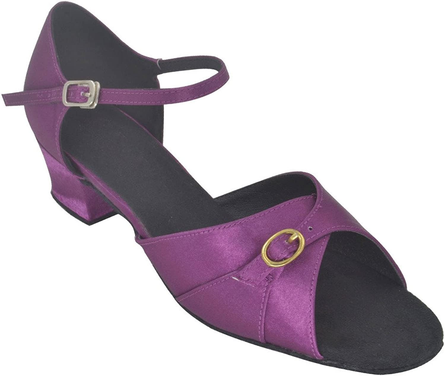 Misu Women's Peep Toe Sandals Latin Salsa Tango Practice Ballroom Dance shoes with 1.8  Heel Purple