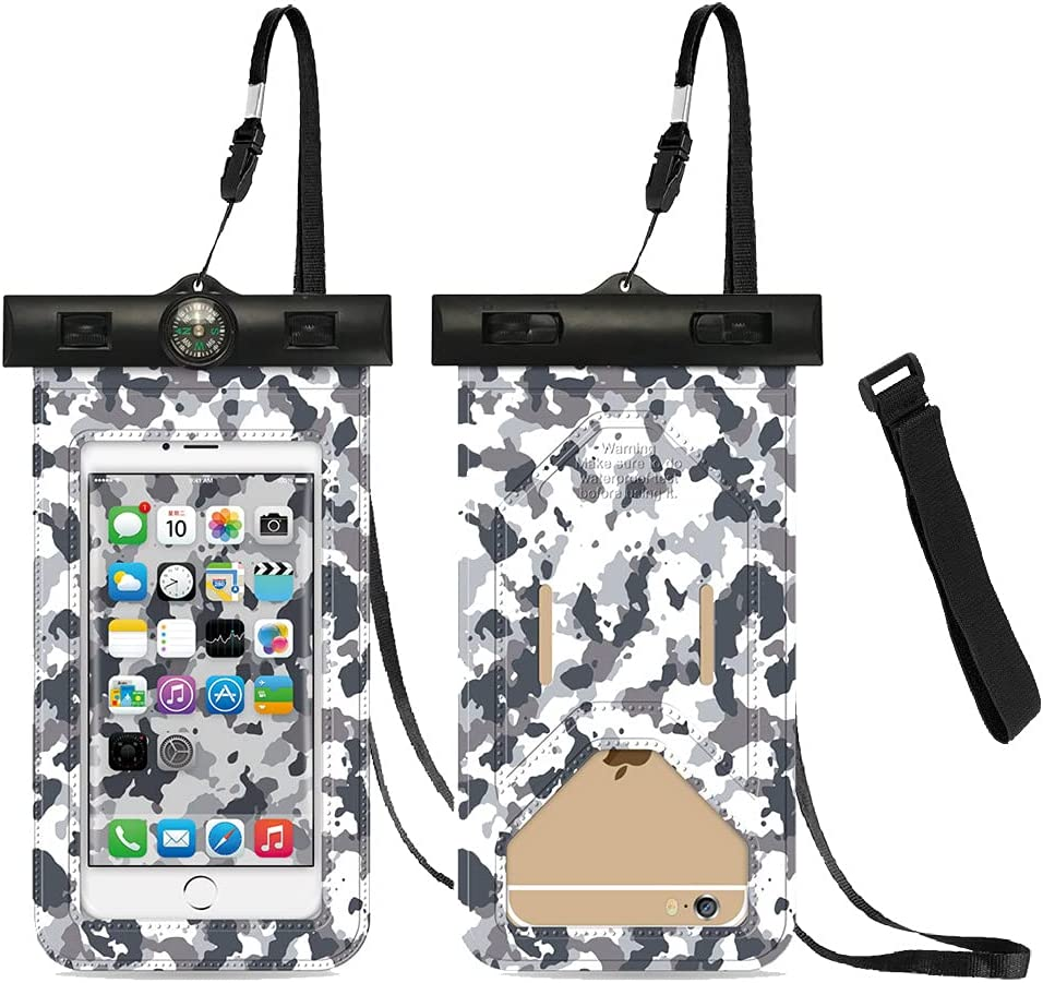 Universal Waterproof Case [2-Pack], Camouflage Waterproof Pouch Cellphone Dry Bag with Armband and Compass for iPhone 12/12 Pro Max/11/11 Pro/SE/Xs Max/XR/8P/7 Galaxy S20/S10 Note Google Up to 6.7