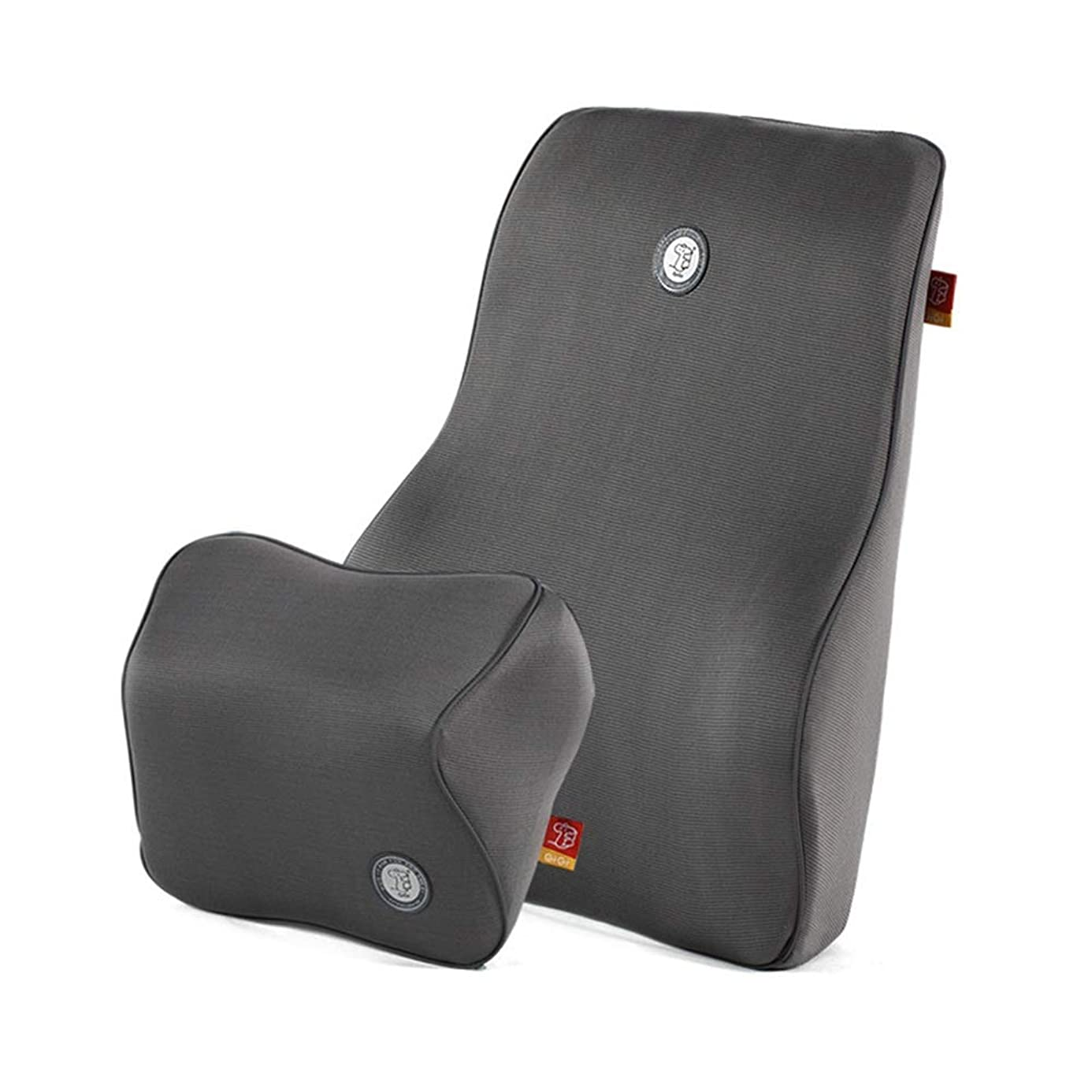 Lumbar pillow Travel Ease Pillow Car Lumbar Support Back Cushion & Headrest Neck Pillow Kit For Seat Bamboo Charcoal Memory Foam Erognomic Design Universal Fit For Car Seat With Back Pain Relief
