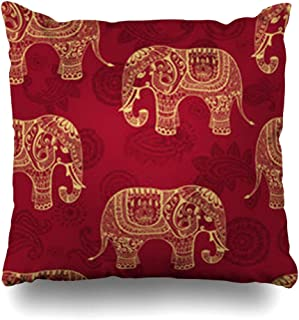 DaniulloRU Throw Pillow Covers Craft India Clear Patterned Elephants in Lacy Indian Endless Pattern Nature Paisley Graphic Elephant Home Decor Sofa Cushion Cases Square Size 18 x 18 Inches