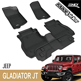 3D MAXpider All-Weather Floor Mats for Jeep Gladiator JT 2020 Custom Fit Car Floor Liners, Kagu Series (1st & 2nd Row, Black)