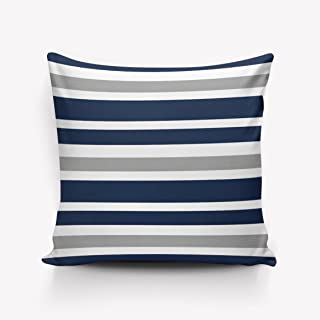 Navy Blue Grey and White Stripe Pattern Throw Pillow Indoor Cover Pillow Case For Home Sofa Car Office 16