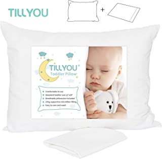 "TILLYOU Toddler Travel Pillow with Pillowcase - Hypoallergenic Kids Pillow for Sleeping Napping 13""x18"", 100% Soft Cotton Pillow Case Included 14""x20"", Fits Toddler Bed/Baby Crib/Child Cot, White"