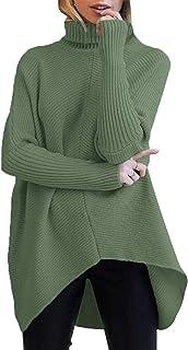 Womens Turtleneck Long Batwing Sleeve Asymmetric Hem...