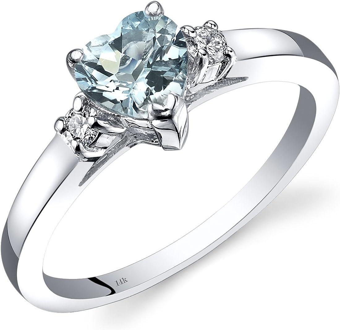 14K White Gold Aquamarine Diamond Heart Ring 0.75 Carat