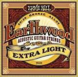 Ernie Ball Earthwood 80/20 Bronze Alloy Extra Light Acoustic Guitar Strings 10-50 - Includes 6 Free Plectrums