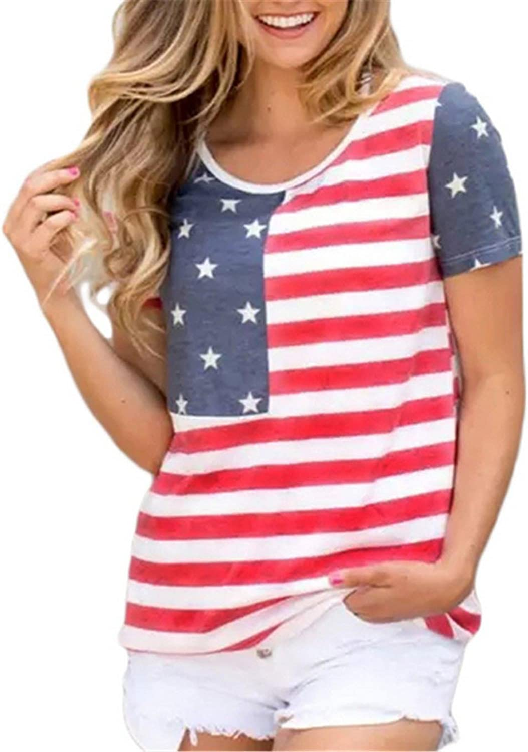 LUKYCILD Women 4th July Patriotic USA Flag Stripe Star Print Shirt Top Blouse