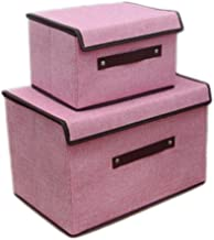 2PCS Cotton and Linen Laundry Basket Bags Clothes Hamper Storage Foldable Toy Covered Organizer-Pink