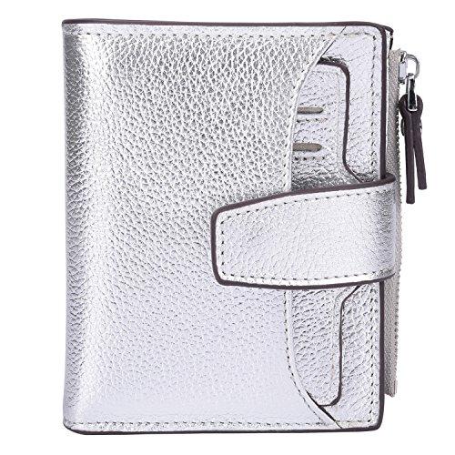 AINIMOER Women's RFID Blocking Leather Small Compact Bi-fold Zipper Pocket Wallet Card Case Purse (Lichee Silver)