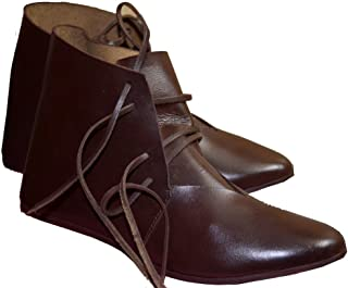 Medieval Leather Shoes Ankle Length Renaissance Boot
