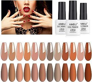 AIMEILI Soak Off UV LED Fall Gel Nail Polish Color, Nudes Neutral Color Gel Set Of 12pcs X 8ml - Kit Set 1