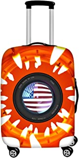 FOR U DESIGNS Men's Usa Flag Print Travel Suitcase Protective Cover Luggage COVER M-(22-25 inch) Orange