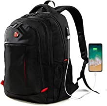 Laptop Backpack, Travel Waterproof Computer Bag for Women Men, Anti-theft High School College Bookbag, Business Fashion Backpacks with USB Charging Port Fits 15.6inch Laptop&Notebook, Black