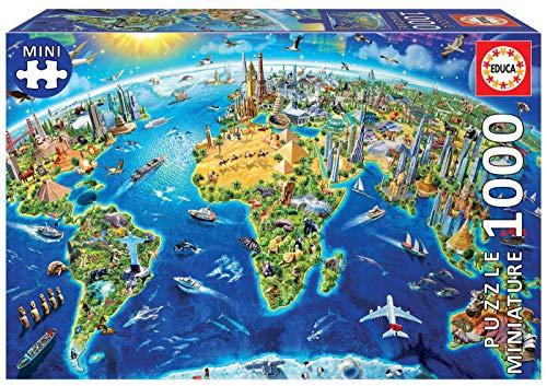 Educa Mundo, Mapa político geografía Puzzle, 1000 Piezas, Multicolor (16005) (19036)
