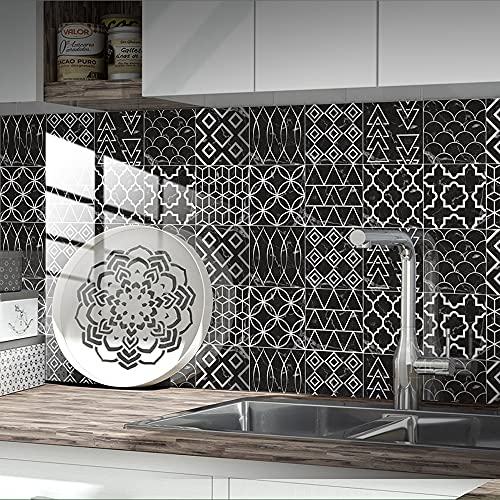 Pegatinas para azulejos Pegatinas para azulejos de mármol Backsplash PVC Impermeable Prueba de aceite Pegatinas de pared autoadhesivas para bricolaje(20 piezas,10 x 10cm)