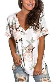 Womens Floral Tops Short Sleeve V Neck Tee T Shirt Printed Side Split Tunic