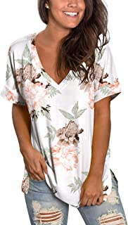 SAMPEEL Womens Floral Tops Short Sleeve V Neck Tee T Shirt Printed Side Split Tunic