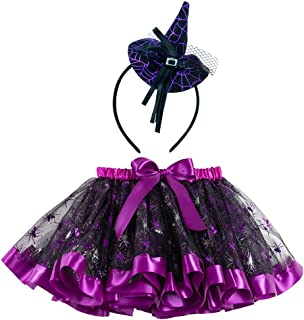 StyleZ Halloween Tutu Tulle Ribbon Layered Skirt with Spider Bat Pumpkin + Witch Hat Hair Hoop for Little Toddlers Girls