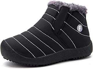 EQUICK Boy's Girl's Snow Boots Fur Lined Winter Outdoor Slip On Shoes Boots