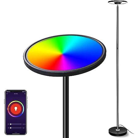 Smart Lampadaire LED, Bomcosy 25W RGBW Lampadaire sur Pied Salon Réglable, Lampe LED Pied Tactile/Vocale Compatible avec Smartphone, Alexa et Google Assistant, Lampadaire LED Salon Bureau Chambre