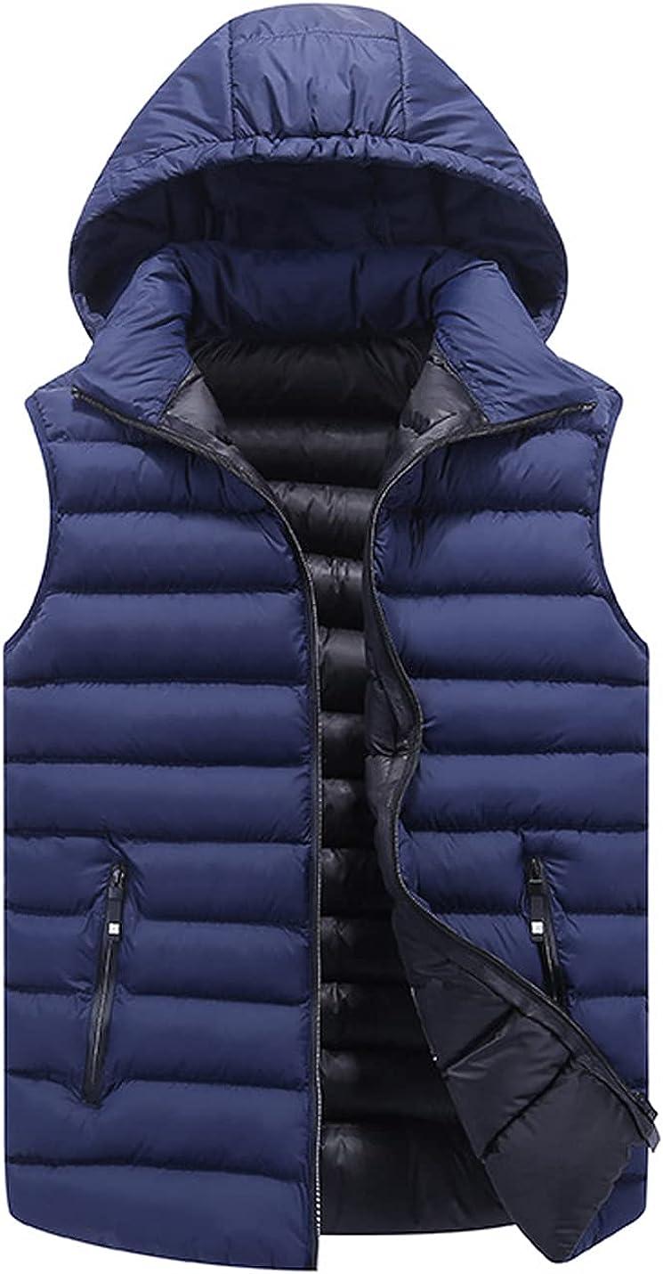 Peaceglad Mens Casual Zip Up Hoodies Padded Puffer Vest Sleeveless Down Hooded Cardigan Jackets