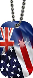 BleuReign(TM) Mixed USA and Australia Flag Single Sided Metal Military ID Dog Tag with Beaded Chain