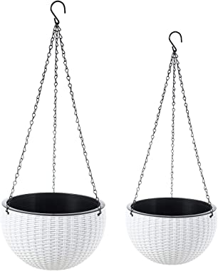 Foraineam 2-Pack Dual-pots Design Hanging Basket Planters Self-Watering Indoor Outdoor Plant & Flower Hanging Pots with D
