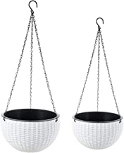 Foraineam 2-Pack Dual-pots Design Hanging Basket Planters Self-Watering Indoor Outdoor Plant & Flower Hanging Pots with Dr...