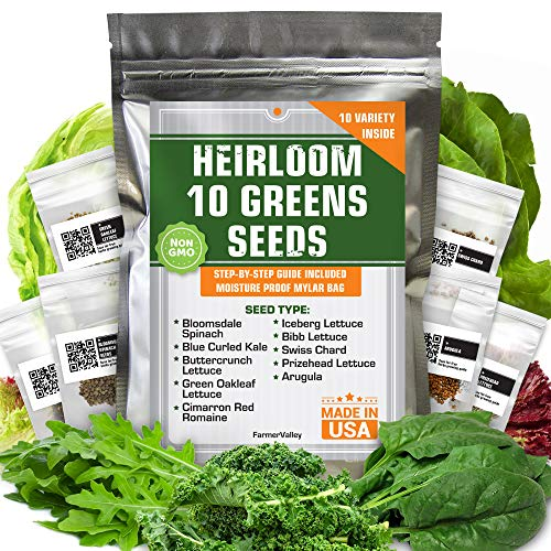 Heirloom Non-GMO Lettuce and Greens Seeds Variety Pack
