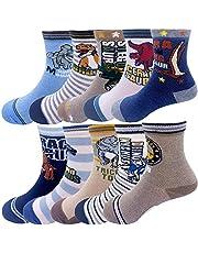 Memoryee Calcetines de dinosaurios de dibujos animados de moda para niños 4-16 años de edad, el mejor regalo de algodón para niños Sport Crew Sock Set de 10 paquetes