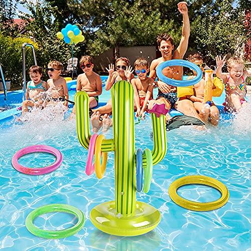 Poolspielzeug, Aufblasbarer Kaktus Aufblasbarer Ring Toss Spiel Set Lustige Party Bar Liefert Pool Float Party Favors Zubehör Wasser Spaß Spielzeug Für Kinder Erwachsene