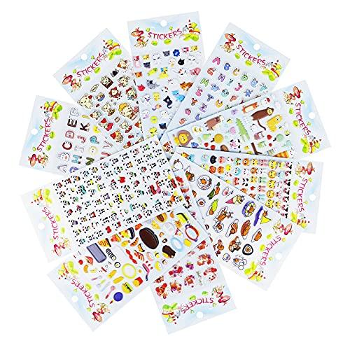 Lunriwis 3D Aufkleber für Kinder & Kleinkinder, 400+ Geschwollen Stickers, 3D Sticker Niedliche Verschiedene Set Buchstab en, niedlichen Cartoon-Mustern, Cartoon-Tieren, Pandas (10 Bogen)