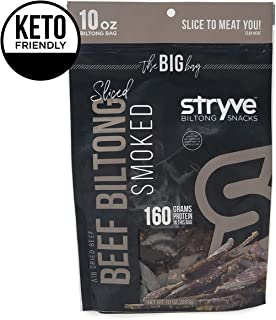 Stryve Keto Protein Snacks - Healthy Beef Biltong Jerky | High Protein, Low Carb, Gluten Free, Sugar Free, Paleo Friendly | Smoked, 10oz