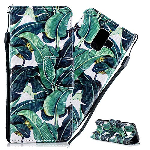 Asdsinfor Galaxy A6 2018 Case Stylish Advanced Colorful Painted Wallet Case Credit Cards Slot with Stand for PU Leather Shockproof Flip Magnetic Case for Samsung Galaxy A6 2018 Banana Leaf HX