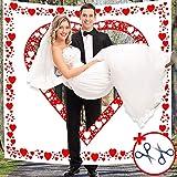 Altdeutsche Hochzeitstradition Laken mit Herzmotiv zum Ausschneiden für Braut und Bräutigam - Der Bräutigam Trägt seine Braut durchs Herz - Hochzeitsherz für das Brautpaar Hochzeit Deko...