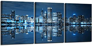 Nachic Wall- 3 Piece Pictures Ready to Hang Wall Decorations Blue Chicago Wall Art Canvas Painting City Picture Print on Canvas Framed Modern Home Living Room Bedroom Decor Decoration