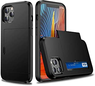Case for iPhone 12 Pro with Card Holder, Credit Card Slot Wallet Cases Soft TPU Hard PC Shockproof Cover, 6.1 Inch (Black,...
