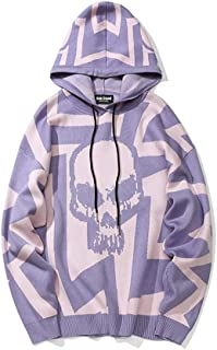 LIUFULING Men's Autumn and Winter Casual Jacquard Hip hop Street Hooded Sweater (Color : Purple, Size : L)