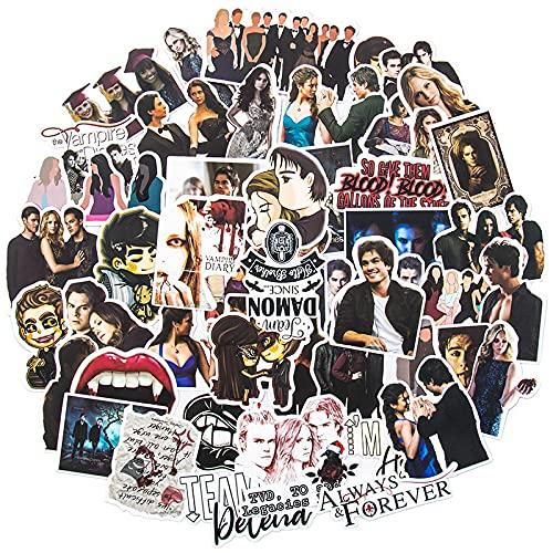 MBGM American TV Series Vampire Diaries, laptop, mala, guitarra, adesivos de grafite, adesivos impermeáveis, 50 peças