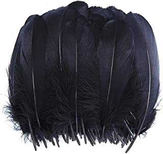 TommoT 100 Pcs 5-7 Inch Natural Large Black Goose Feathers for DIY Crafts or Dream Catcher