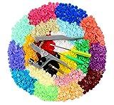 ilauke 400pcs Botones Snaps Plástico T5 Botones Redondos Colores 20 Colores con Snap Alicate