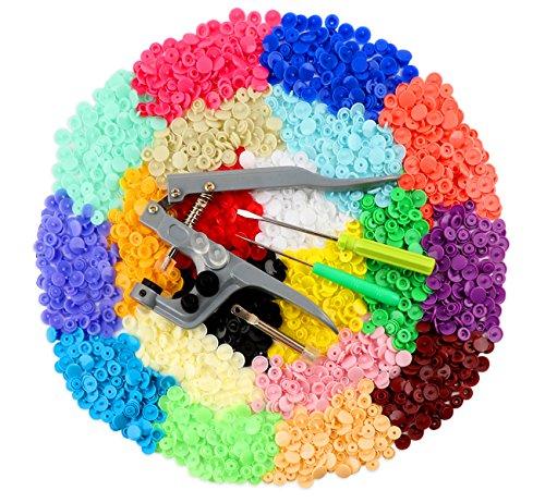 Bottoni a Pressione, ilauke 400pz 20 Colori Bottoni Automatici in Plastica e Pinze in Metallo