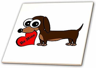 3dRose ct/_35542/_2 Cute Beagle-Cartoon Dog-Blue with Pawprints-Ceramic Tile 6-Inch