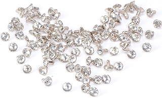 SUPVOX 100 pcs rivets rapides en cristal blanc strass en cristal de 7mm avec des boutons de couleur argentés double capuch...