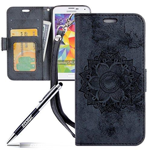 Kompatibel mit Galaxy S5 Hülle,Galaxy S5 Neo Tasche Lederhülle Galaxy S5 / S5 Neo Handyhülle Wallet Hülle Flip Hülle Brieftasche,Mandala Blumen Muster PU Leder Tasche Handy Schutzhülle Etui Schwarz