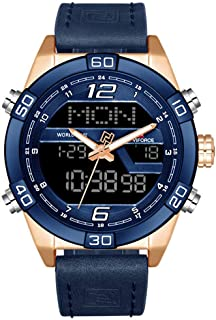 Naviforce Casual Watch For Men Analog-Digital PU Leather - NF9128GBU