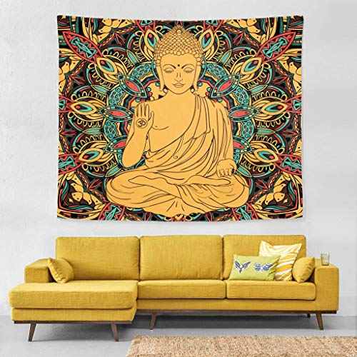 Wall Tapestry Sitting Buddha Geometric Element Kaleidoscope Livingroom Exclusive Decor Wall Hanging Art 60x51 Inches Horizontal Wall Backdrop Blankets for Bed Room Divider