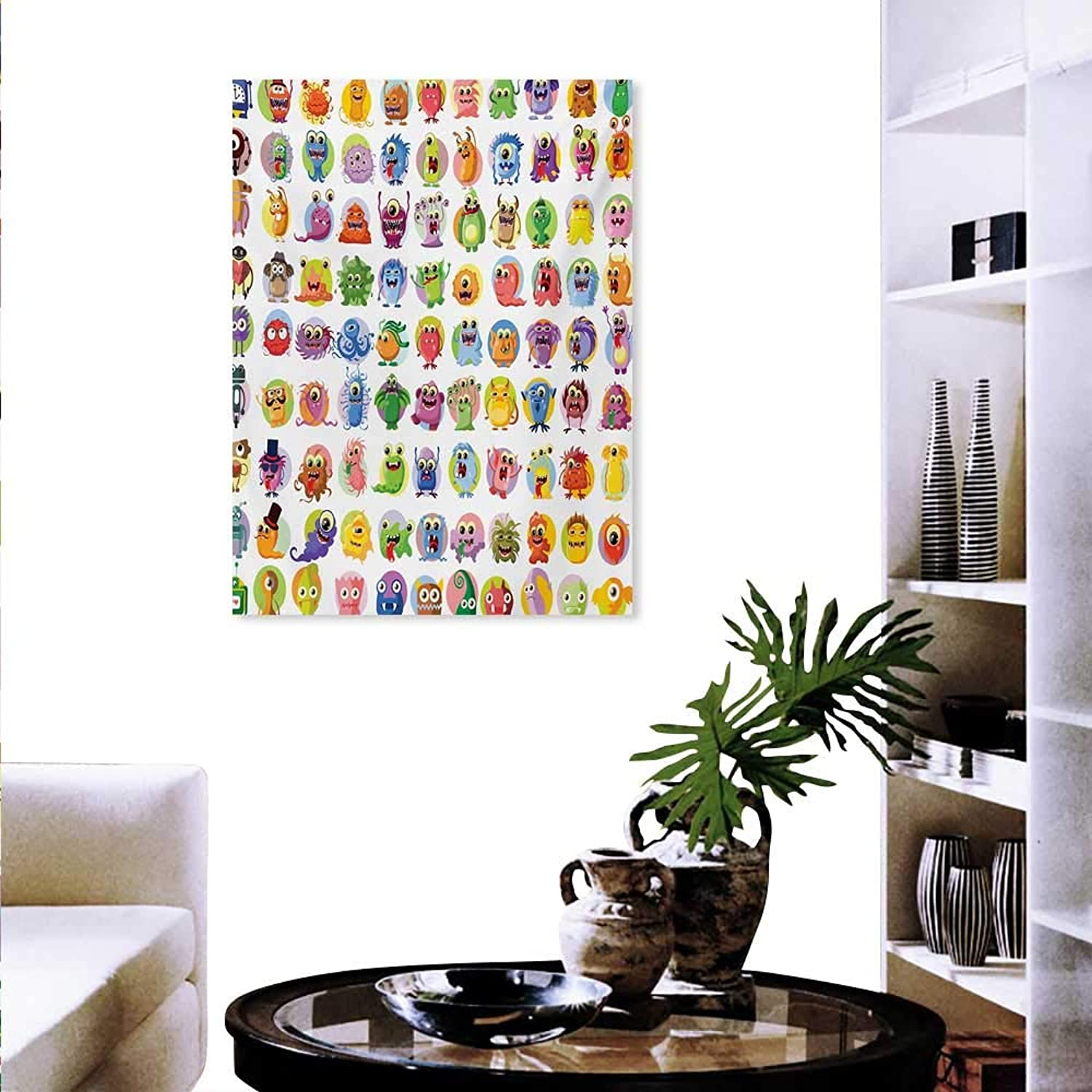 Mannwarehouse Animation Decorate Stickers for Wall Cute Little Graphic Baby Mosters Great for Kids Nursery Room colord Cartoons Art Wall Art Stickers 32 x36  Multicolor